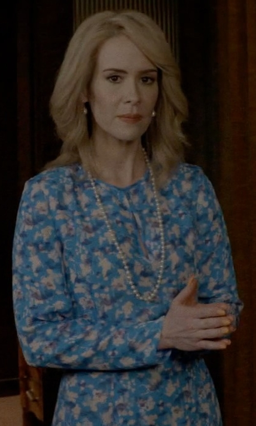 Sarah Paulson with Prabal Gurung Long-Sleeve Floral-Print Dress in American Horror Story
