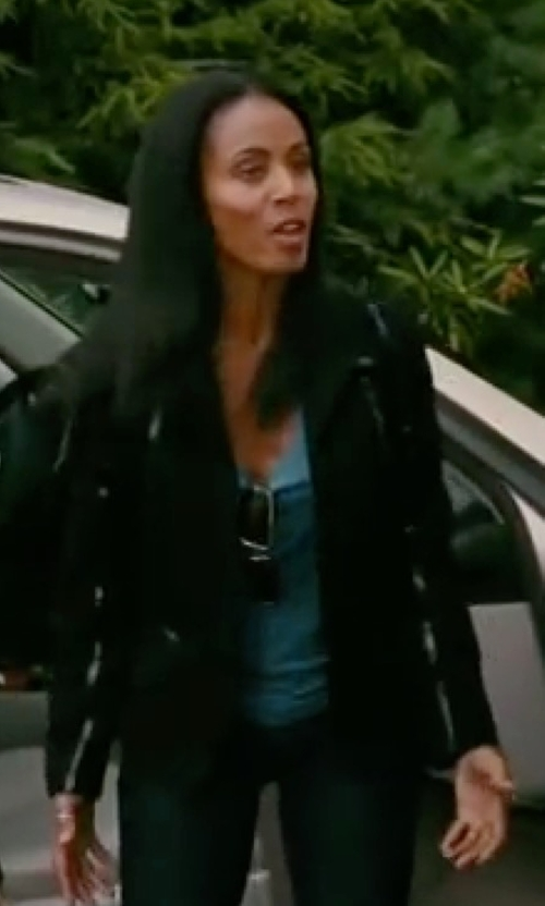 Jada Pinkett Smith with Vince Leather Scuba Jacket in The Women