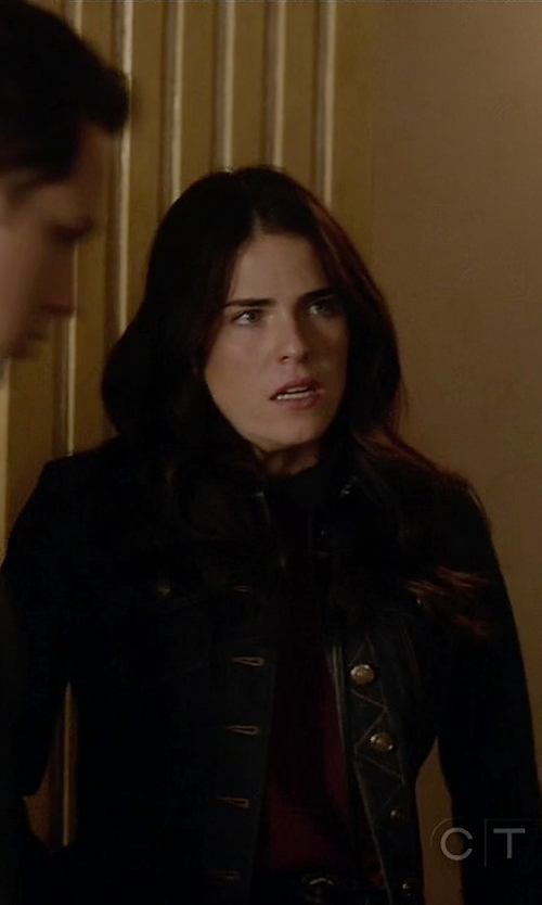 Karla Souza with Burberry Brit Dymchurch Denim Cropped Trucker Jacket in How To Get Away With Murder