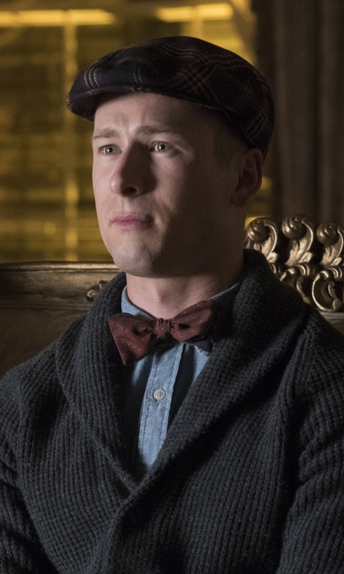 Glen Powell with Brooks Brothers Signature Tartan Plaid Wool Ivy Cap in Scream Queens
