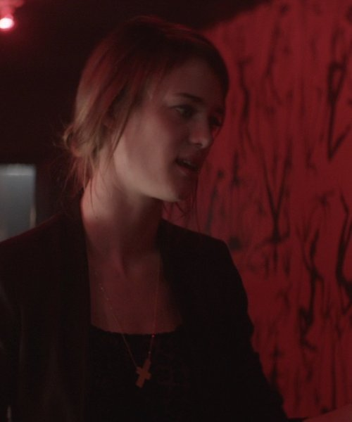 Mackenzie Davis with Moon and Lola Gold Plate Integrated Cross Necklace in That Awkward Moment