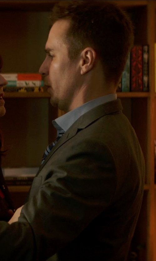 Sam Rockwell with Banana Republic BR Monogram Solid Dress Shirt in Poltergeist