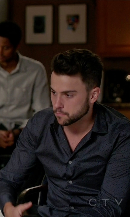 Jack Falahee with John Varvatos Collection Slim Fit Dot Print Roll Sleeve Sport Shirt in How To Get Away With Murder