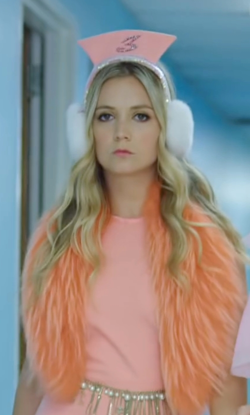 Billie Lourd with The Fur Vault Fox Fur Earmuffs in Scream Queens