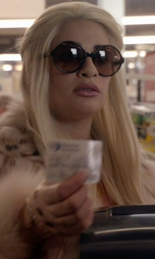 Lea Michele with Vogue Eyewear Plastic Round Shape Sunglasses in Scream Queens