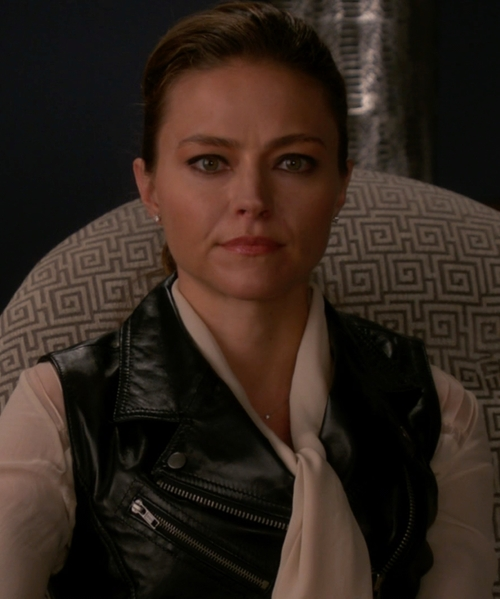 Trieste Kelly Dunn with Twin-Set Simona Barbieri Zip Leather Vest in The Good Wife