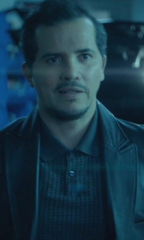 John Leguizamo with AG Adriano Goldschmied Two-Button Leather Blazer in John Wick