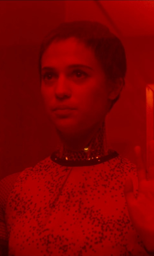 Alicia Vikander with Mod Cloth Dotted Dress in Ex Machina