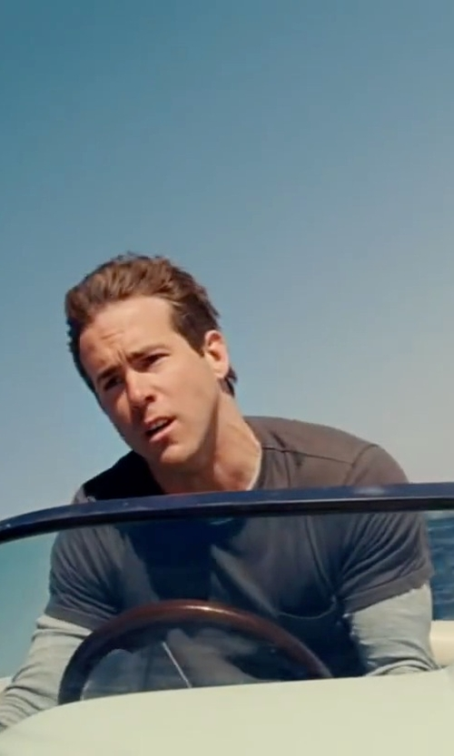 Ryan Reynolds with Anthony Thomas Melillo Crew Neck Slub Jersey T-Shirt in The Proposal