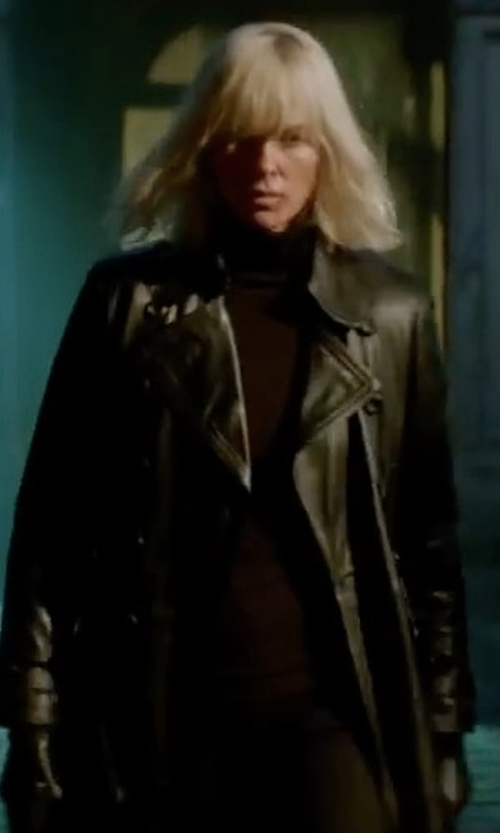 Charlize Theron with Armani Collezioni Belted Leather Trenchcoat in Atomic Blonde