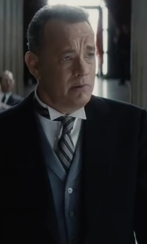 Tom Hanks with Calvin Klein Slim Fit Silk Silver Streak Stripe Tie in Bridge of Spies