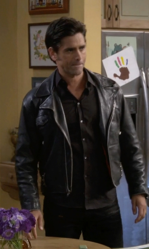 John Stamos with Brooklyn Supply Co Biker Jacket in Fuller House