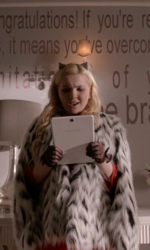 Abigail Breslin with Michael Michael Kors Faux Fur Chevron Pattern Jacket in Scream Queens