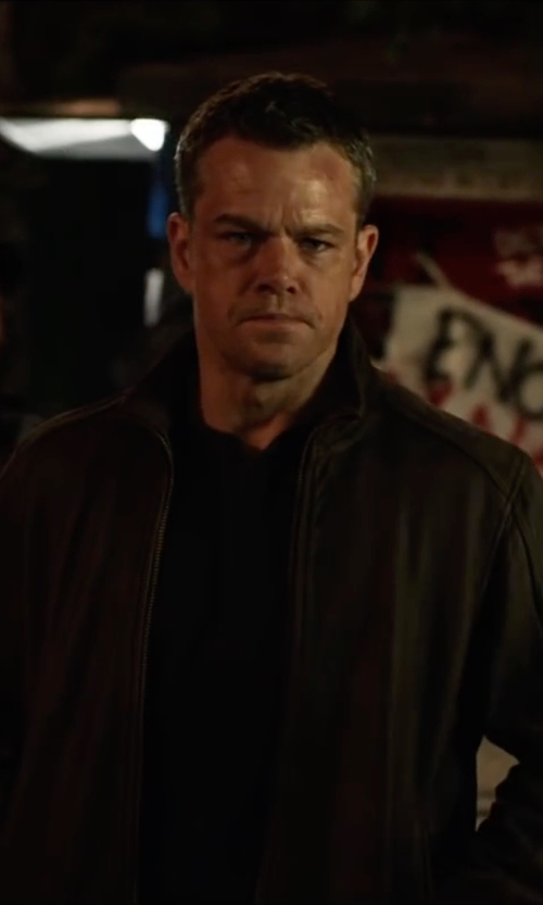 Matt Damon with Tommy Hilfiger Faux-Leather Stand-Collar Bomber Jacket in Jason Bourne