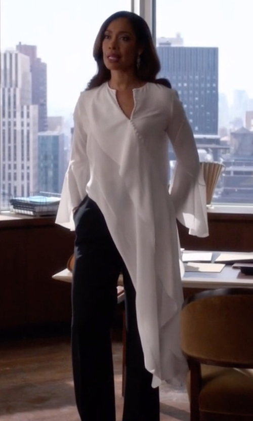 Gina Torres with Givenchy Asymmetrical Silk Blouse in Suits