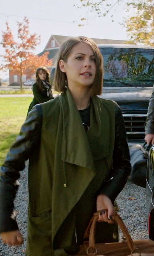 Willa Holland with Zara Parka Jacket with Leather Sleeves in Arrow