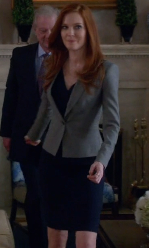 Darby Stanchfield with Halogen Faux Wrap Ponte Sheath Dress  in Scandal