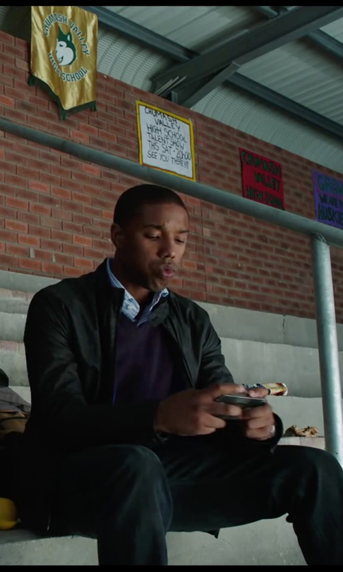 Michael B. Jordan with Les Copains Striped Shirts in Chronicle