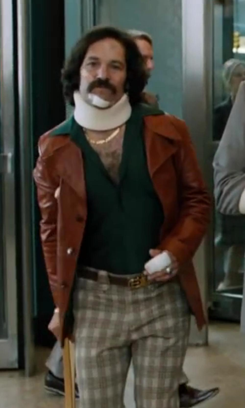 Paul Rudd with John Varvatos Textured Harness on Vachetta Leather in Anchorman 2: The Legend Continues