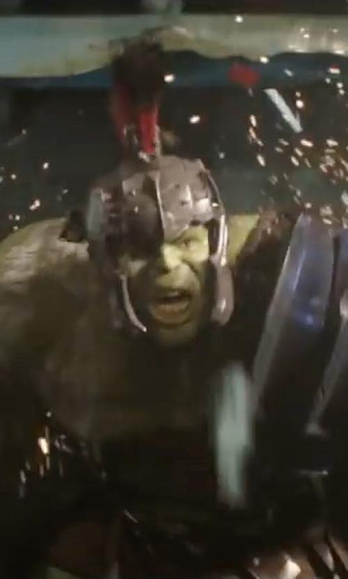Mark Ruffalo with Mayes C. Rubeo (Costume Designer) Custom Made Hulk Gladiator Armor in Thor: Ragnarok