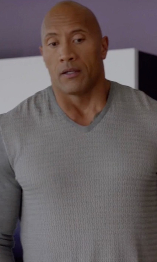 Dwayne Johnson with Neiman Marcus Cashmere-Silk V-Neck Sweater in Ballers
