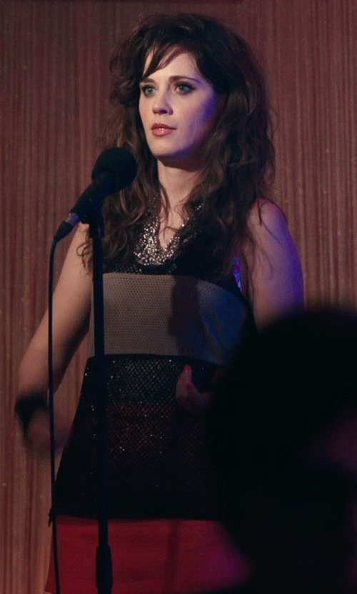 Zooey Deschanel with Calvin Klein Color-Block Tank Top in Rock The Kasbah