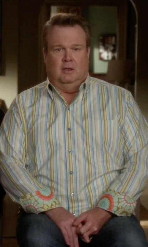Eric Stonestreet with Di Biasi Stripe Long Sleeve Shirt in Modern Family