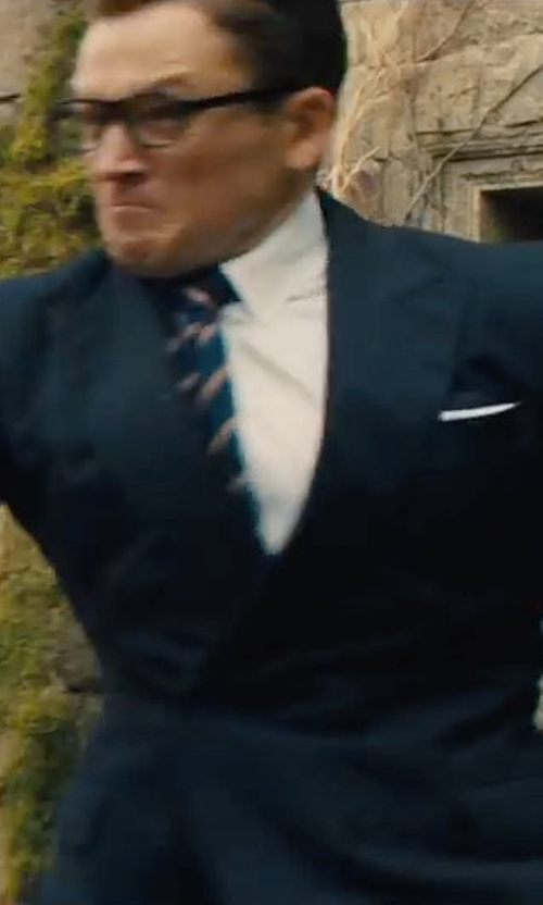 Taron Egerton with Kingsman for Mr. Porter Double-Breasted Pinstriped Suit in Kingsman: The Golden Circle