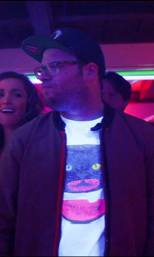 Seth Rogen with Rag & Bone Quilted Leather Bomber Jacket in Neighbors