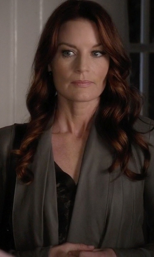 Laura Leighton with BCBGMAXAZRIA Leather Drape Front Jacket in Pretty Little Liars