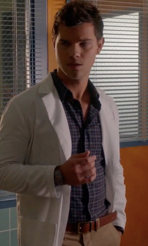 Taylor Lautner with Z Zegna Checked Long Sleeve Cotton Shirt in Scream Queens