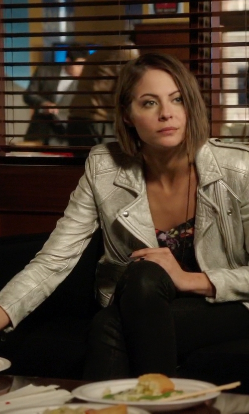 Willa Holland with Iro Ebya Metallic Leather Jacket in Arrow