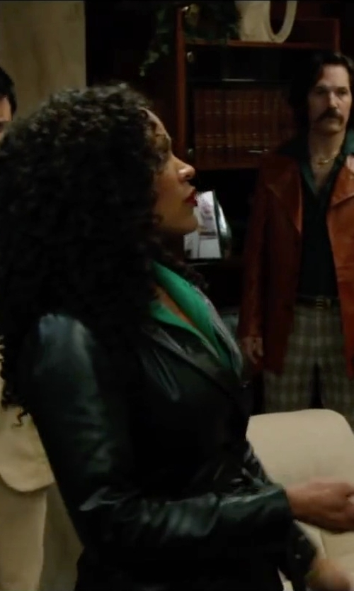 Meagan Good with Sebby Faux-Leather Trench Coat in Anchorman 2: The Legend Continues