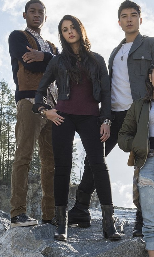 Naomi Scott with Michael Michael Kors Ashton Mid Leather Booties in Power Rangers