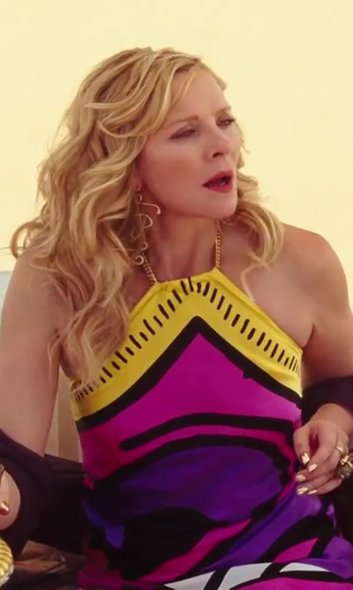 Kim Cattrall with Patricia Field for Keith Haring Printed Maxi Dress in Sex and the City 2
