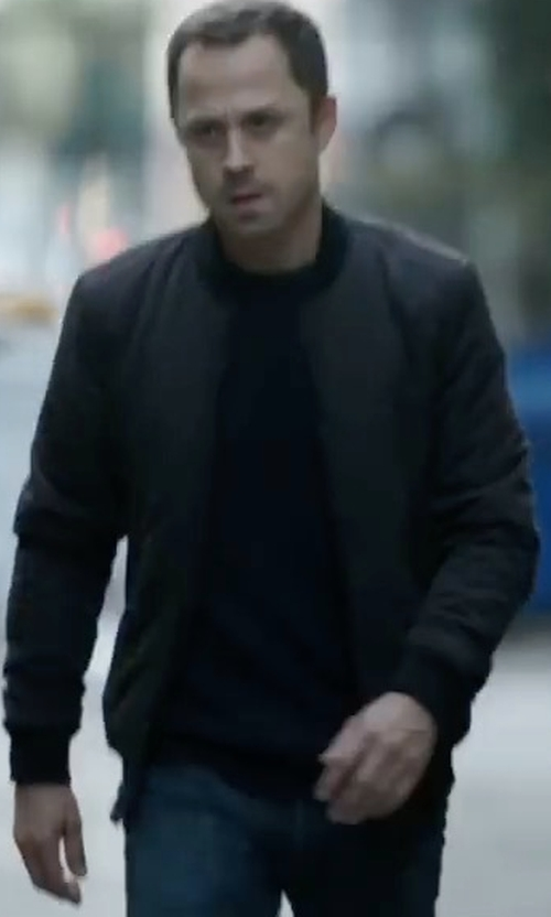 Giovanni Ribisi with Theory Travus Scuba Front-Zip Jacket in Sneaky Pete