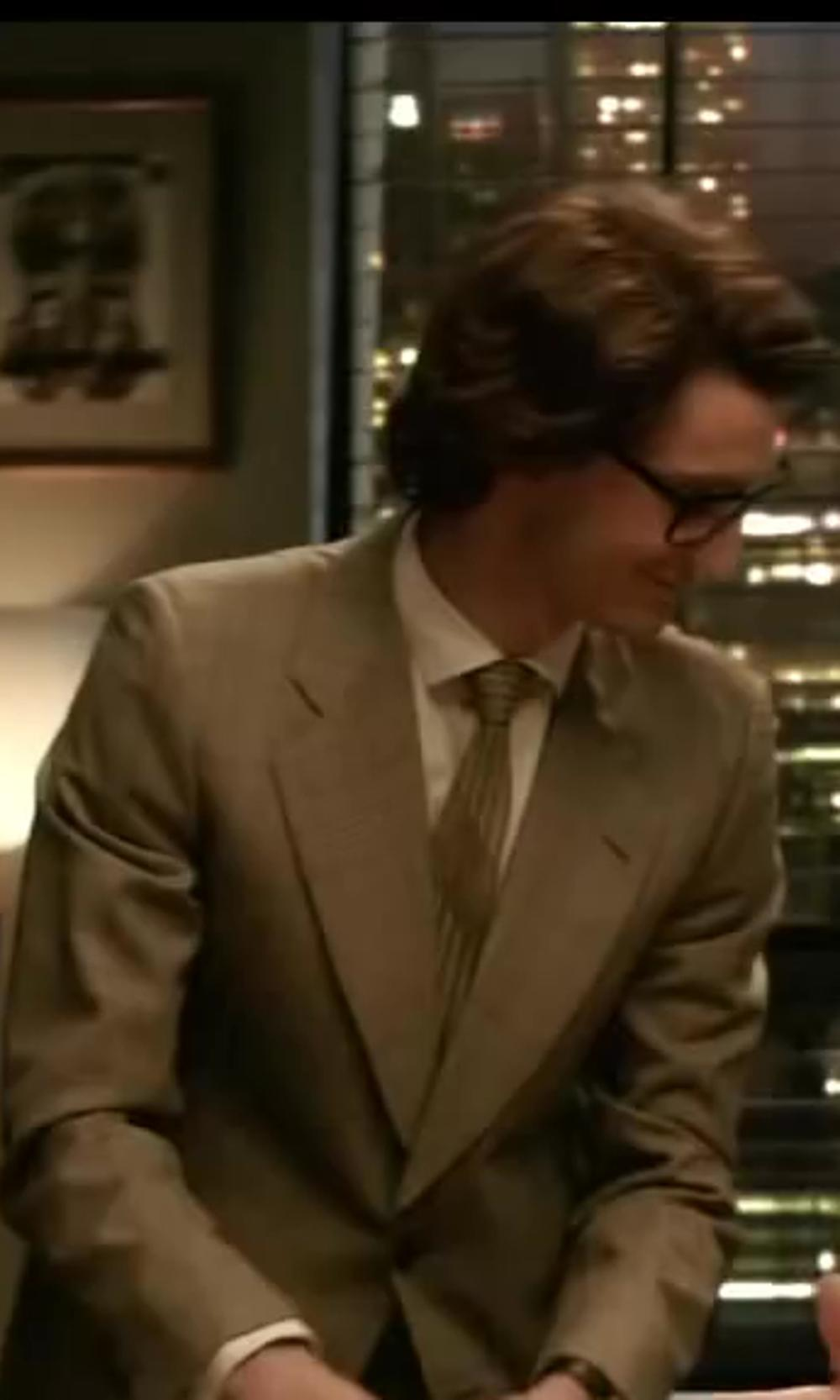 Pierre Niney with Brioni White-On-White Stripe Dress Shirt in Yves Saint Laurent