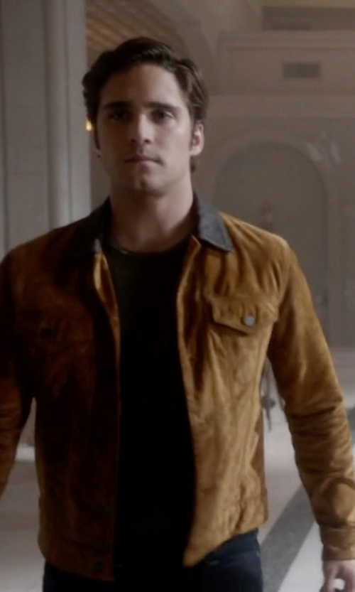 Diego Boneta with Levi's Slim Fit Suede Trucker Jacket in Scream Queens