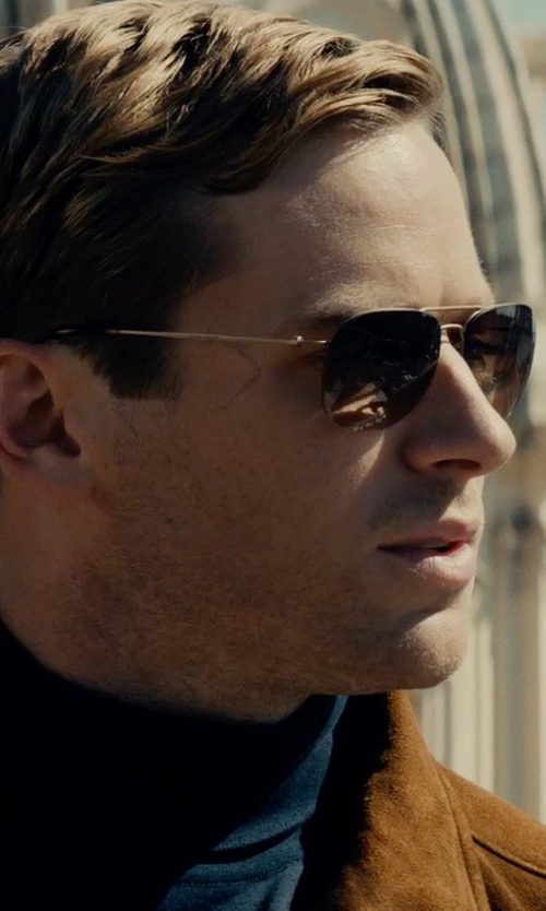 Armie Hammer with Ray-Ban Original Aviator Sunglasses in The Man from U.N.C.L.E.