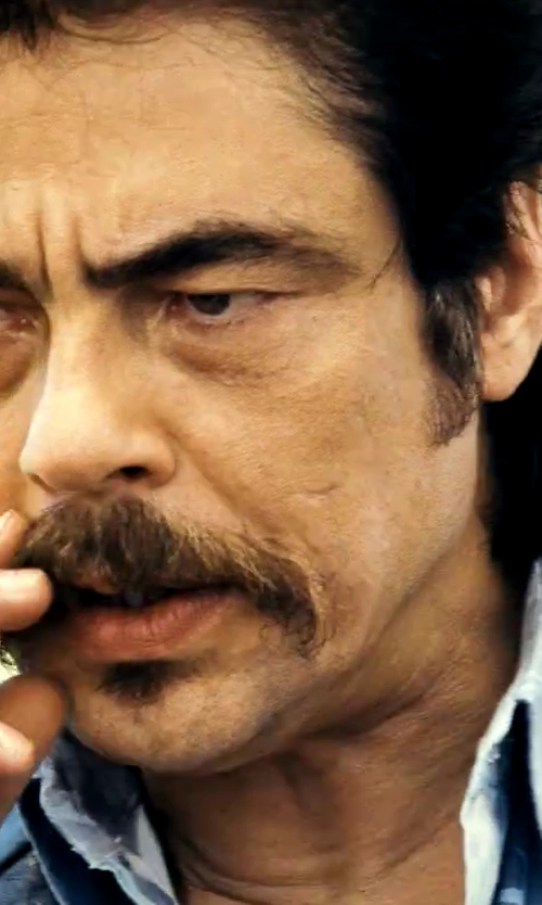 Benicio Del Toro with Lanvin Fitted Blue Dress Shirt in Savages