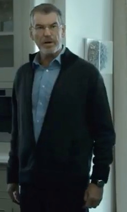Pierce Brosnan with Billy Reid Jacquard Knit Track Jacket in The Foreigner