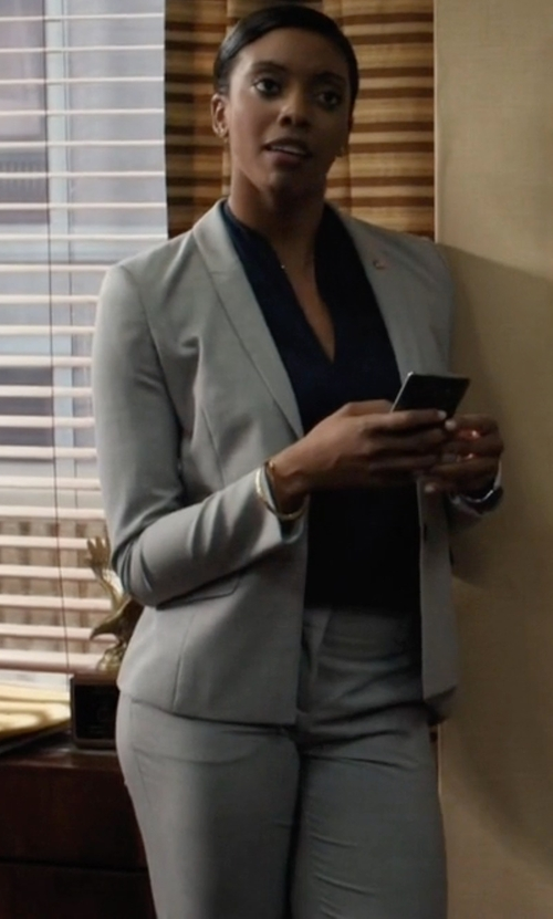Condola Rashad with Mauro Grifoni Single Breasted Pants Suit in Billions