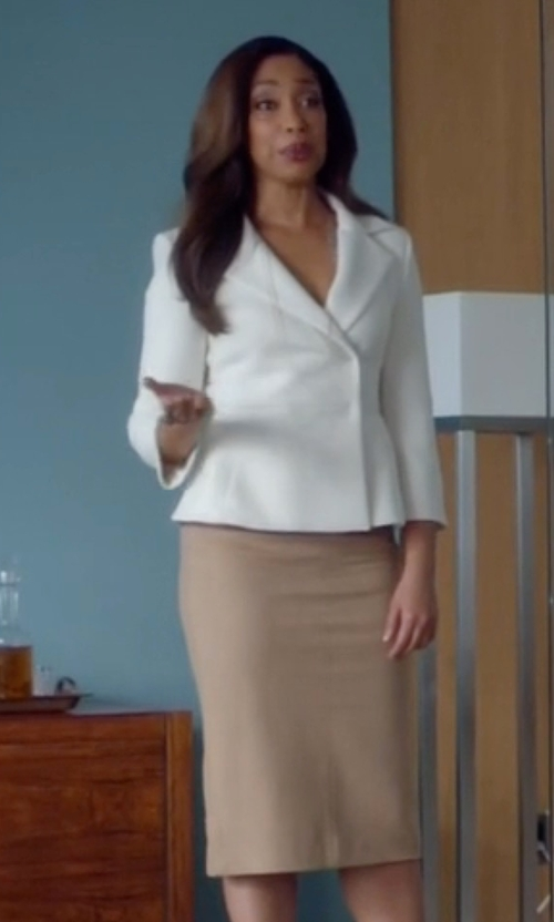 Gina Torres with Milly Pencil Skirt in Suits