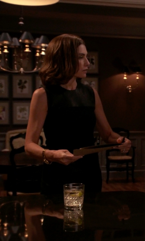 Julianna Margulies with Narciso Rodriguez Leather Sheath Dress in The Good Wife