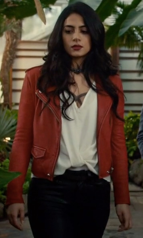Emeraude Toubia with Iro Ashville Jacket in Shadowhunters
