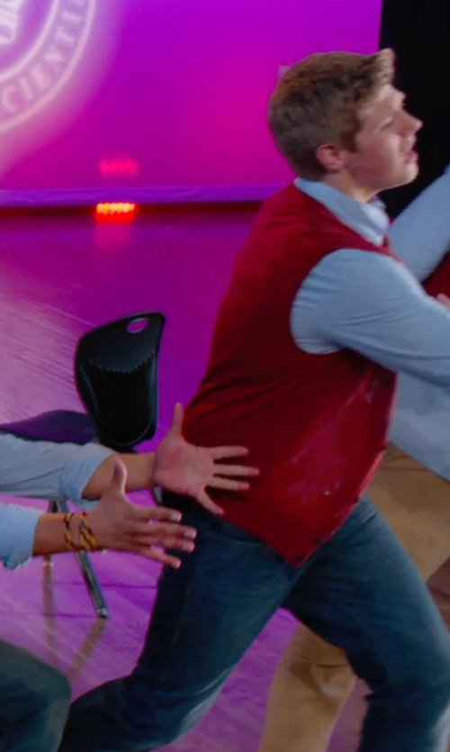 Blake Burt with Paul Fredrick Wool Button Front Sweater Vest in Pitch Perfect 2