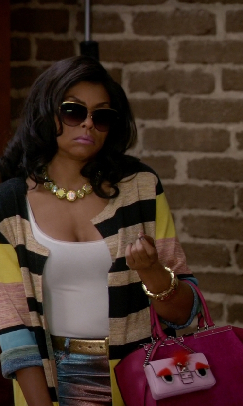 Taraji P. Henson with Fendi Micro Baguette Monster Leather Bag in Empire