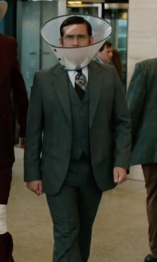 Steve Carell with Ralph Lauren Grey Flannel Vested Slim-fit Suit in Anchorman 2: The Legend Continues