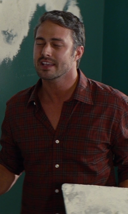 Taylor Kinney with Lucky Brand Men's Snap Button Front Plaid Long Sleeve Shirt-Orange in The Other Woman