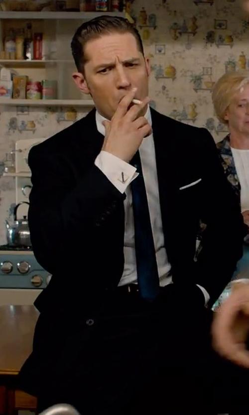 Tom Hardy with Charvet Textured Hairline-Stripe Silk Tie in Legend